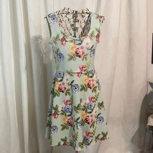 LN Green floral fit and flare dress.